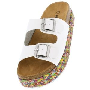 Shoes - Brand New! WHITE SLIDES w/ BRAIDED SOLE